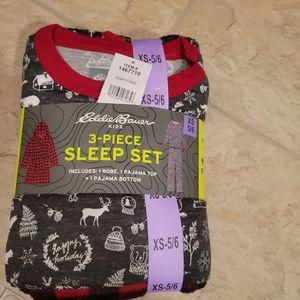 Eddie Bauer XS 5/6 PJ Sleep Set 3 Piece Holiday